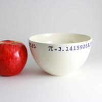 Pi Bowl 314 Math Bowl in White and Blue by LLTownleyCeramic