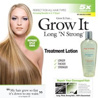 Want Longer Hair? Want Stronger Hair? Grow Hair Fast! Buy Long &#x27;N Strong Treatment Lotion - Longer, Thicker Hair! - Split End Repair - Spli