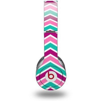 Zig Zag Teal Pink Purple Decal Style Skin (fits genuine Beats Solo HD Headphones - HEADPHONES NOT INCLUDED)