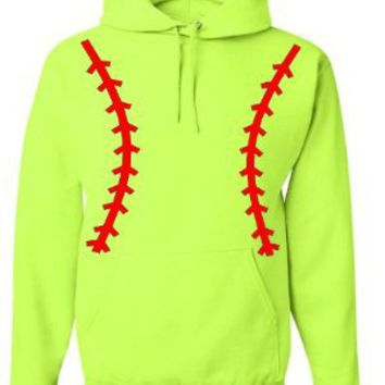 Softball Pullover Hooded Sweatshirt (Unisex Adult Hoodie) - Neon Safety Green / Red