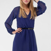 Long Sleeve Dress in Purple :: tobi