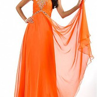 [129.99] Beautiful Chiffon A-line Jewel Neckline Ruched Bodice Full Length Evening Gown With Beadings - Dressilyme.com