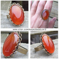 Carnelian Courage Bronze Lace Adjustable Ring