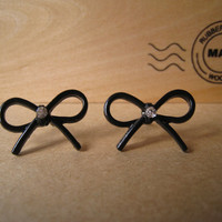 Black Ribbon Bow Earrings Studs by Bitsofbling on Etsy
