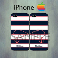Nautical Infinity Best Friends Blue Coral Stripe iPhone case - Personalized Coral Anchor iPhone 4 or iPhone 5 Case, Two Case Set