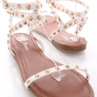 White Studded Open Toe Sandals
