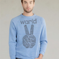 Mens Sweatshirt World Peace Eco Organic Fleece womens sweater - Check description for available sizes