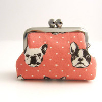 Frame Coin Purse side lock frame pouch  french bulldog by thezakka