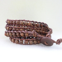 Unisex wood multi wrap bracelet!!! Natural Wood!
