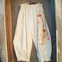 Baggie Pants, Natural Cotton Muslin with Large Vintage Floral Design Fabric Pocket