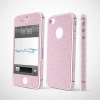 Bestgoods  Nice Sparking Rhinestone Full Body Cover Skin Sticker Shield For iPhone 4/4S/5