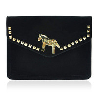 Gold Pony Clutch with Chain Strap from Hallomall