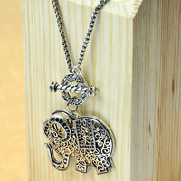 Silver Folk Long Necklace with Elephant Pendant