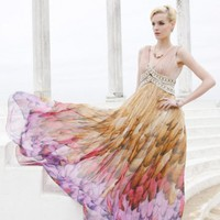 Sheath Sexy V-neck Empire Waist Floor Length Colorful Chiffon Evening Dress