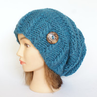 Wool petrol blue slouch hat women - beanies hat - Slouch Beanie - Large hat - chunky hat - Chunky Knit Winter Fall Accessories , Slouchy hat