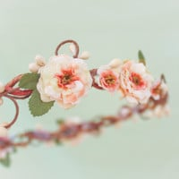 peach blossom flower crown, bridesmaid headpiece, floral head piece