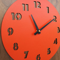 retro modern walnut wall clock by uncommon on Etsy
