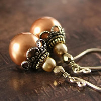 Copper Pearl Earrings Swarovski Crystal Pearl by DorotaJewelry