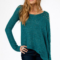 Asymmetric Studded Shoulder Sweater $35