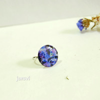 VIolet Ring - Blue Ring - Magic RIng - Magic World - Clay Ring - Resin Ring - Fairy-Tale Ring by Jursvi