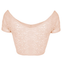 Lace Bardot Crop Top - Cropped Tops & Bralets - Tops - Clothing - Topshop USA
