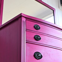 Beautiful Magenta Antique Dresser W/ Mirror by AquaXpressions