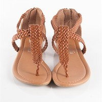 Braided Strapy Flip Flops - Tan from Sandals at Lucky 21 Lucky 21