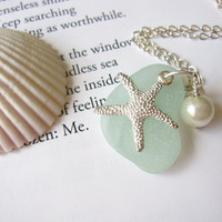 Seafoam Seaglass Pendant with fresh water pearl pearl &amp; Starfish - Nautical gift for sisters, girlfriends or beach lovers FREE SHIPPING