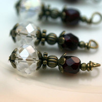 Vintage Style Clear Crystal and Garnet Czech Bead Drop Dangle Charm Set - 4 Piece