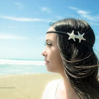 Mermaid Hair - Double White Knobby Starfish Headband by dreamsbythesea