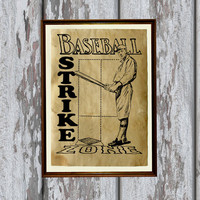 Vintage baseball art print Antique paper Antiqued decor