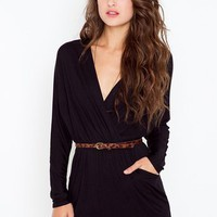 Dolman Wrap Dress (Black)