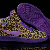 Ladies Retro Nike Jordan 1 Phat Leopard Purple Shoes on sale