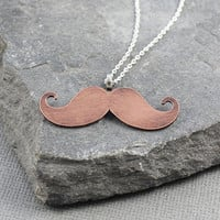 Mustache pendant, Copper mustache, Mustache Jewelry, Gifts for her, gifts under 40, Novelty gifts