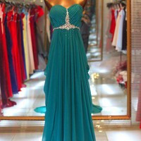 A-line Sweetheart Sweep Train Beaded Gorgeous Prom Dress from fashionforgirls