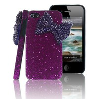 Amazon.com: New 3D Handmade Bling Big Deep Purple Bow Back Case Cover Hard Purple for Iphone 4 4S: Cell Phones & Accessories