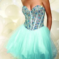 P677 TERANI prom dress *PRICE MATCH GUARANTEE* SHORT AQUA 0 2 4 6 8 10 12 14