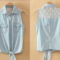 BlueBand — Lace Button-Up Denim Shirt With Knot