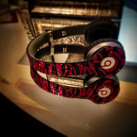 Custom SOLO Zebra Swarovski Beats by Dre - HEADPHONES INCLUDED