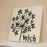 Dandelion Wish Decorative Tile  Silhouette  by TheBeautifulHome