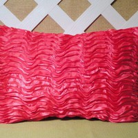 Lipstick Pink Accent Pillow in Layered Frilly Ruffle Look Pattern