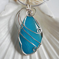Wire Wrap Jewelry, Blue Agate Pendant, Handmade Jewelry