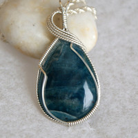 Wire Wrapped Blue Apatite Pendant in 930 by TheTempestStone