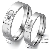 "Titanium Stainless Steel Lock and Key Wedding Ring Promise Ring Couple Wedding Band with Engraved ""Love"" Rhinestone Inlay"