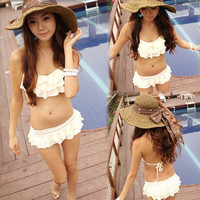 Korea Women Bikini Two Pieces Elegant Flounce Swimwear Swimsuit
