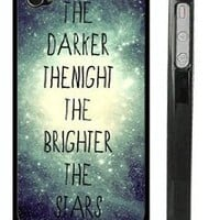 "Amazon.com: USA Made Black iPhone 4 4s Snap on Case - Galaxy Universe Stars Quote iPhone Cover - ""The darker the night, the brighter the stars"" Quote Case: Cell Phones & Accessories"