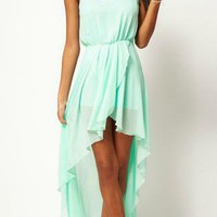 Light Green Asymmetrical Dress S022