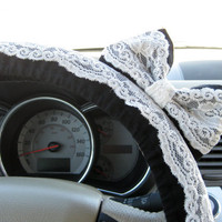Black &amp; Lace Steering Wheel Cover with Matching Bow