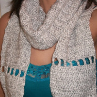 Womens fashion winter scarf in light gray