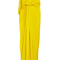 Lanvin|Draped hammered-satin gown|NET-A-PORTER.COM